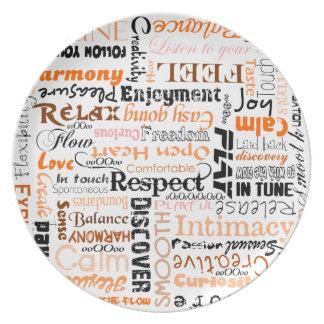 オレンジ陽性の単語の断言のプレート プレート