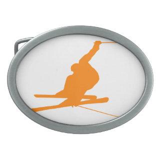 オレンジ雪のスキー 卵形バックル