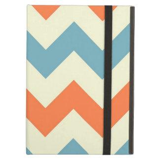 オレンジ青いシェブロンのジグザグ形の幾何学的なジグザグパターン iPad AIRケース