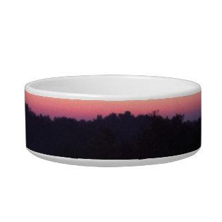 オレンジ青い紫色の日没 猫用ご飯皿