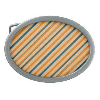 オレンジ青い縞の楕円形のバックル 卵形バックル