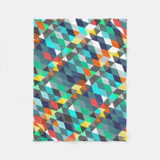 オレンジ青くモダンなミントの抽象芸術の三角形パターン フリースブランケット