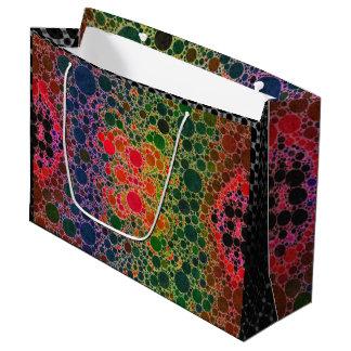 オレンジ青緑の抽象芸術 ラージペーパーバッグ