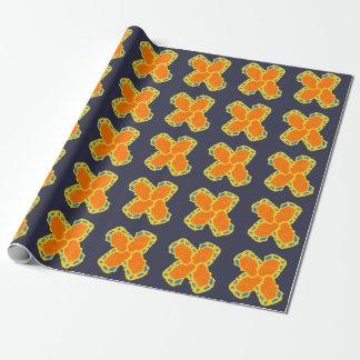 オレンジ青黄色い十字のデザイン ラッピングペーパー
