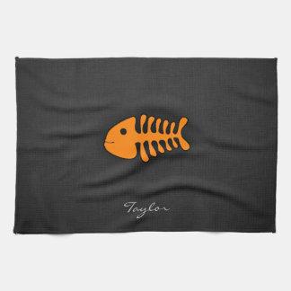 オレンジ魚の骨 キッチンタオル