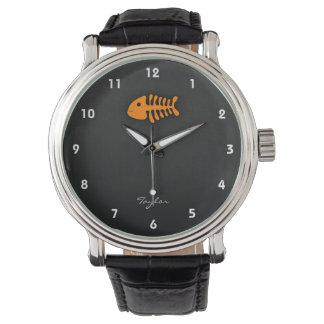 オレンジ魚の骨 腕時計
