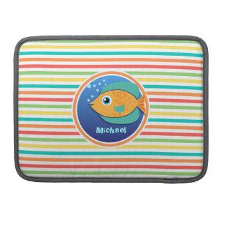 オレンジ魚; 明るい虹は縞で飾ります MacBook PROスリーブ