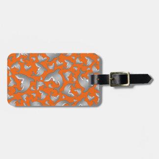 オレンジ鮫パターン ラゲッジタグ