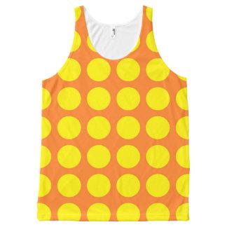 オレンジ黄色い水玉模様 オールオーバープリントタンクトップ