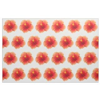 オレンジ黄色のハイビスカスの熱帯花のハワイアン ファブリック