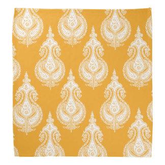 オレンジ黄色のペイズリーパターン バンダナ