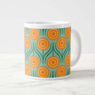 オレンジ黄色のモダンな花のパターンミントの緑 ジャンボコーヒーマグカップ