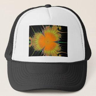 オレンジ黄色の花のフラクタルの芸術のギフト キャップ