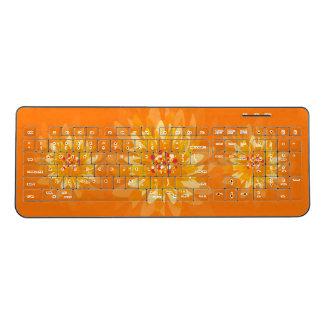 オレンジ黄色の花 ワイヤレスキーボード