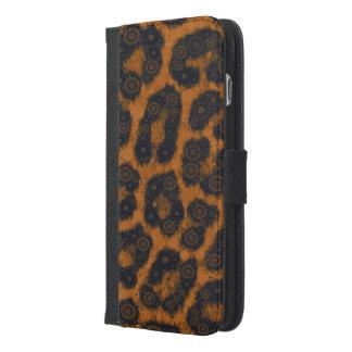 オレンジ黒いチータの抽象芸術 iPhone 6/6S PLUS ウォレットケース