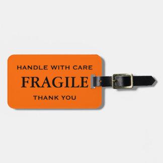 オレンジ黒い壊れやすい心配と感謝していしています扱います ラゲッジタグ