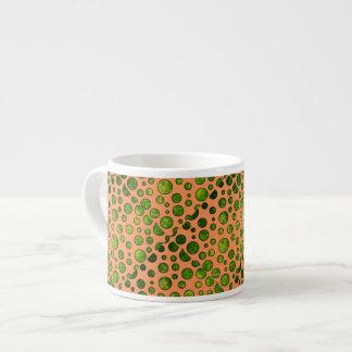 オレンジ、カプチーノのコップの緑の水玉模様 エスプレッソカップ
