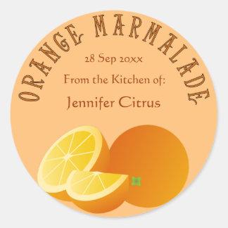 オレンジ・マーマレードのカスタマイズ可能な食糧 ラウンドシール
