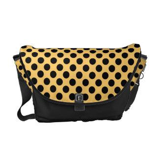 オレンジ-メッセンジャーバッグの黒い水玉模様 クーリエバッグ