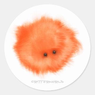 オレンジ|床|打抜き切断工具|生き物 丸形シールステッカー