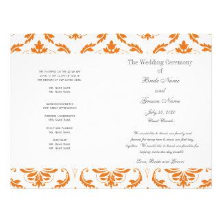 オレンジ|灰色|ヴィンテージ|ダマスク織|結婚|プログラム 21.6CM X 27.9CM チラシ