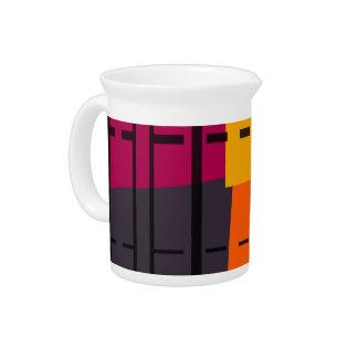 オレンジ、灰色、黒いピンクの抽象美術の水差し ピッチャー