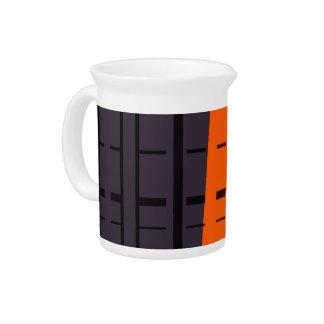オレンジ、灰色、黒い抽象美術の水差し ピッチャー