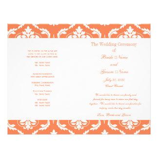 オレンジ|白い|ヴィンテージ|ダマスク織|結婚|プログラム チラシ