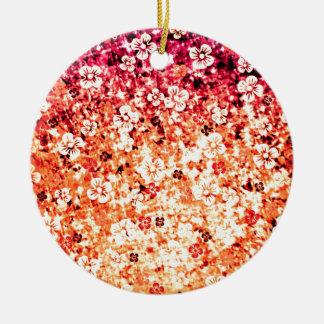 オレンジ、花のカラフルでグラデーションな芸術のフラワーパワー 陶器製丸型オーナメント