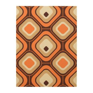 オレンジ、茶色およびベージュ正方形 ウッドウォールアート