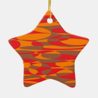 オレンジ、赤いおよび茶色の楕円のデザイン セラミックオーナメント
