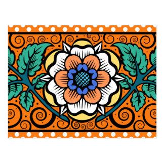 オレンジ-郵便はがきの夏のサクラソウ ポストカード