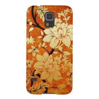 オレンジ、金ゴールド及び黒い花の東洋のスタイル GALAXY S5 ケース