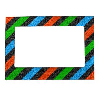 オレンジ、青、緑、黒いグリッターストライプのなSTaylor マグネットフレーム