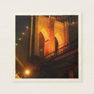 オレンジLEDライトのブルックリン橋 スタンダードカクテルナプキン