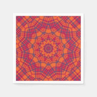 オレンジnの紫色の格子縞のピクニック スタンダードカクテルナプキン