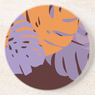 オレンジPixDezines Monstera+purle コースター