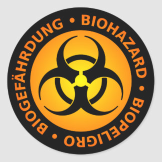 オレンジTrilingual生物学的災害[有害物質]の警告 ラウンドシール