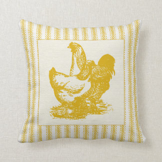 オンドリおよび鶏とカチカチ音をたてる金ゴールド クッション