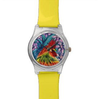 オンドリの水彩画May28thの腕時計の年 ウォッチ