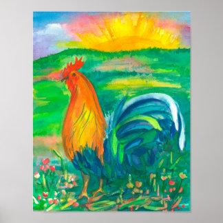 オンドリの鶏の水彩画の絵画 ポスター