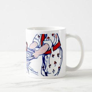 オンドリを食べ物を与えている小さな女の子 コーヒーマグカップ