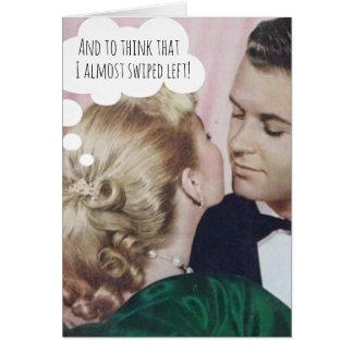 オンラインに会ったカップルのためのおもしろいな結婚式の招待状 カード