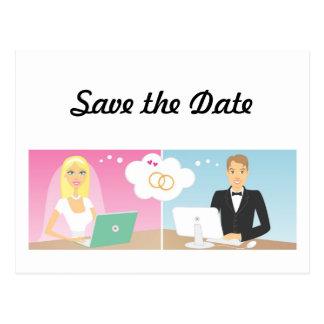 オンライン花嫁のカップルは日付の郵便はがきを救います ポストカード