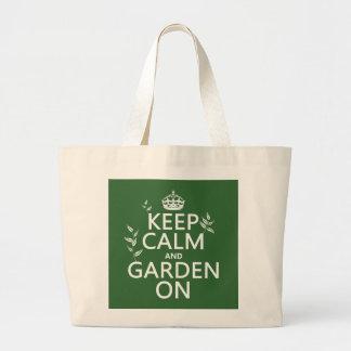 オン平静および庭をすべての色保って下さい ラージトートバッグ