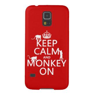 オン平静および猿をすべての色飼って下さい GALAXY S5 ケース