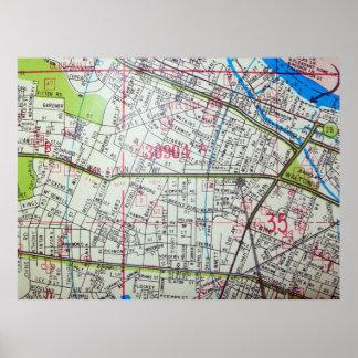 オーガスタのGAのヴィンテージの地図ポスター ポスター