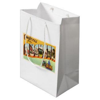 オーガスタメイン私古いヴィンテージ旅行記念品 ミディアムペーパーバッグ