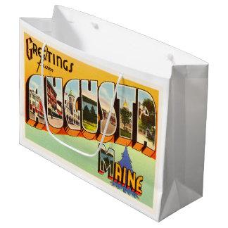 オーガスタメイン私古いヴィンテージ旅行記念品 ラージペーパーバッグ