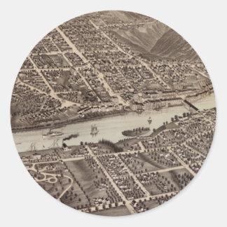 オーガスタメイン(1878年)のヴィンテージの絵解き地図 ラウンドシール